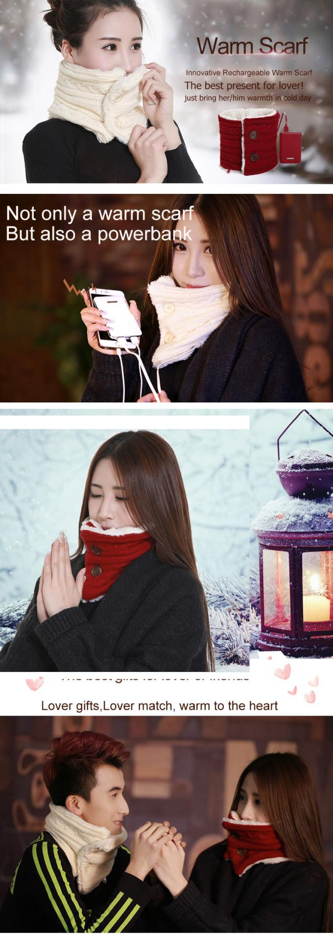 USB Charging Battery Operated Heated Scarf 1.2m Cable Innovative Fashion Design