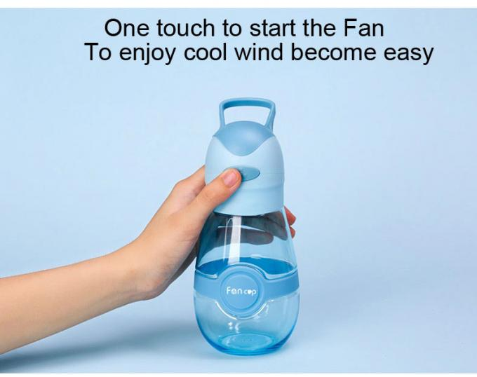 Plastic shaker outdoor sports water cup with mini fan 400ml
