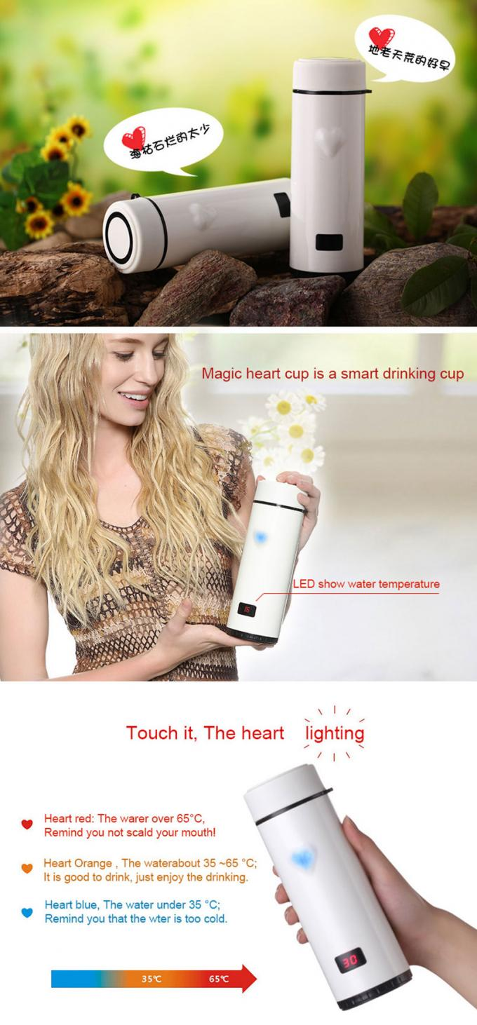 Heart Cup Sports Drink Bottle Smart Shaker Precise Temperature Sensitivity