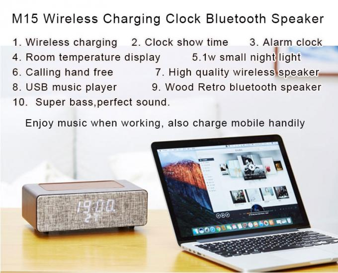 1w Night Light Portable Bluetooth Speakers M15 Alarm Lock With Wireless Charger