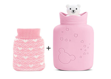 China Anti Aging Small Hot Water Bag Pink Cute Color Integral Molding Process distributor