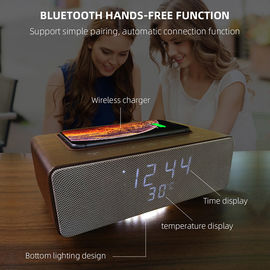 China Wireless Charging Bluetooth Stereo Speakers Alarm Clock Room Temperature Display distributor