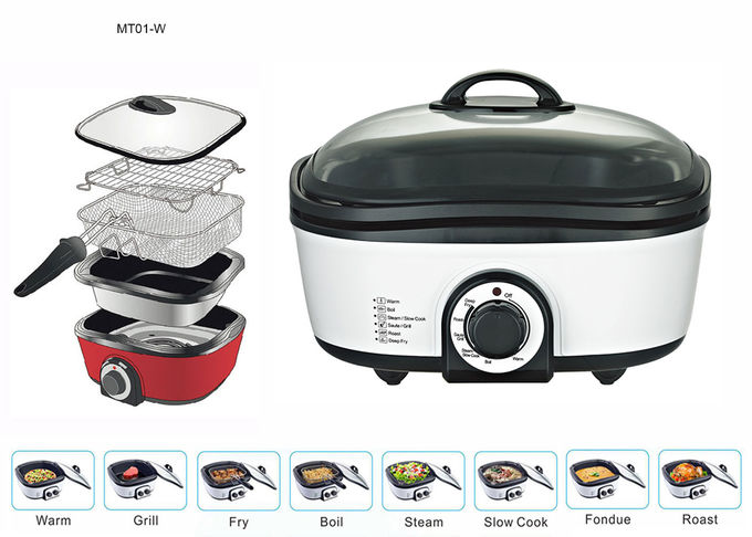 1200W Electric Multi Cooker , Stainless Steel Multi Cooker Brushed Stainless Steel Exterior